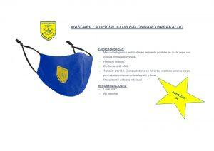Mascarilla oficial Club Balonmano Barakaldo
